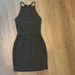 Black & Sliver Sparkle Body Con Dress